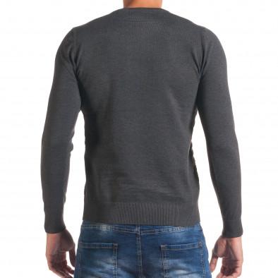 Мъжки тъмно сив пуловер на светло сиви райета it170816-17 3