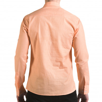 Мъжка оранжева риза на много фини квадратчета il170216-108 3
