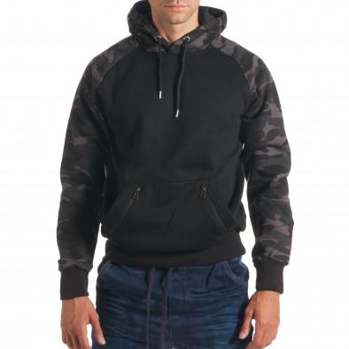 Мъжки черен суичър с камуфлажни ръкави it240816-40 2