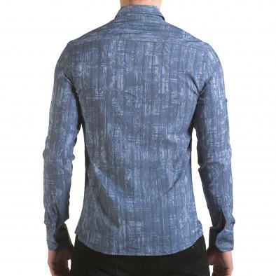 Мъжка синьо-сива риза с фигурална шарка il170216-125 3