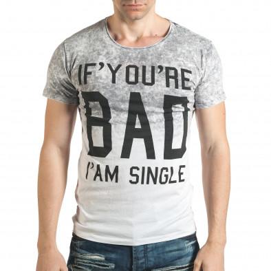 Сива мъжка тениска с надпис il140416-54 2
