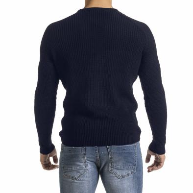 Тъмносин пуловер с реглан ръкав на ромбове it261120-1 4