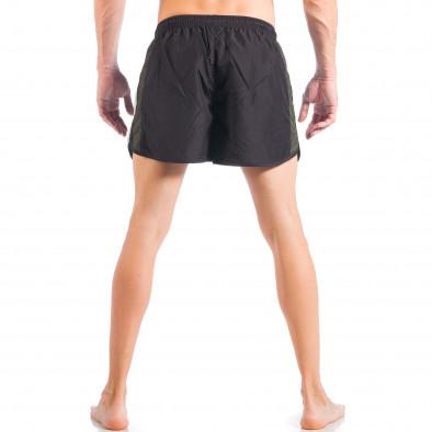 Мъжки черен бански с двуцветна лента it050618-64 4