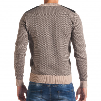Мъжки бежов пуловер с фигурална плетка it170816-8 3