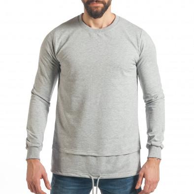Мъжки сив суичър с връзка it290118-102 2