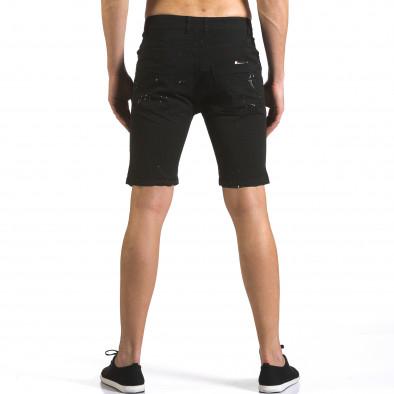Мъжки черни къси дънки с пръски боя it110316-59 3