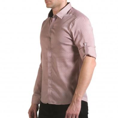 Мъжка бежова риза с малки детайли и скрити копчета il170216-116 4