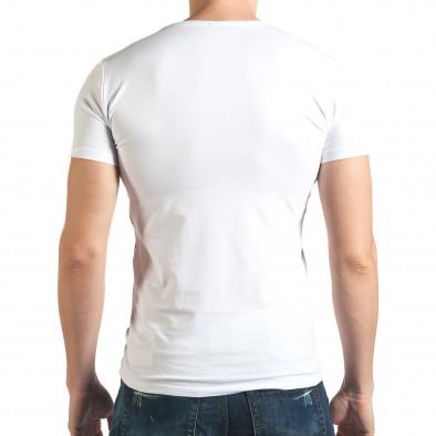 Мъжка тениска в бяло с голям черен кръст отпред Berto Lucci 4
