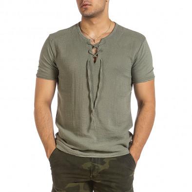 Текстурирана зелена тениска с връзка it240621-6 2