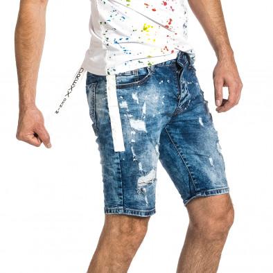 Destroyed сини къси дънки с ивици и пръски боя gr270421-25 4