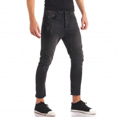 Мъжки тъмно сиви дънки със смъкнато дъно it150816-31 4
