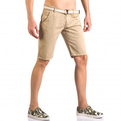 Мъжки бежов къс панталон с текстилен колан Top Star 5