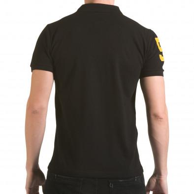 Мъжка черна тениска с яка с релефен надпис Super FRK il170216-25 3
