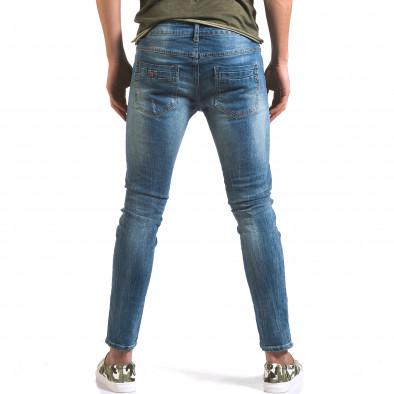 Мъжки светло сини дънки слим с прокъсвания по крачолите it160316-6 3