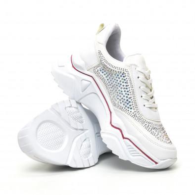 Дамски бели маратонки с камъчета tr180320-16 4