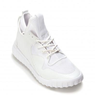 Мъжки бели маратонки с кожена част it090616-6 3