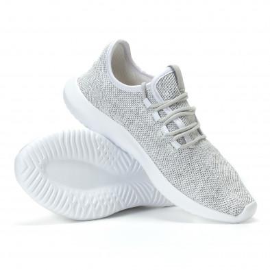Мъжки бяло-сиви маратонки олекотен модел it110817-71 4