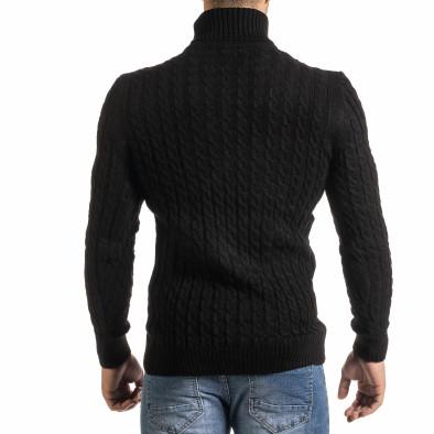Мъжки черен пуловер с поло яка и плетеници it301020-23 3