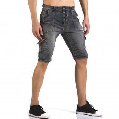 Мъжки сиви къси дънки с джобове на крачолите Justing 5