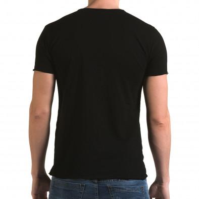 Мъжка черна тениска изчистен модел it090216-78 3