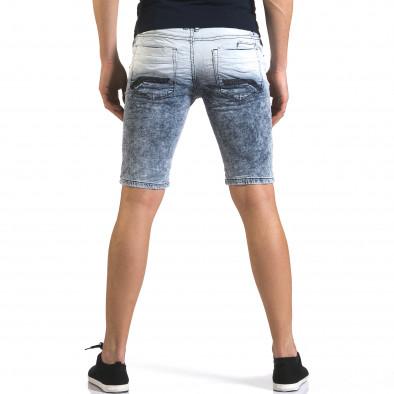 Мъжки светло сини къси дънки с преливащ цвят it110316-66 3
