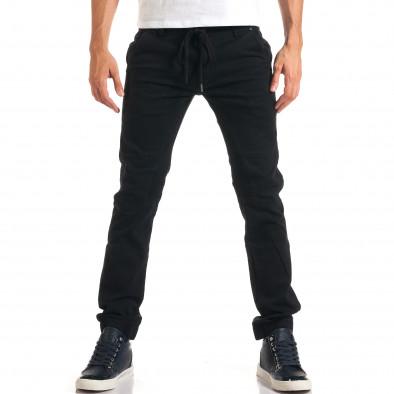 Мъжки черни дънки с връзки на кръста it160916-13 2