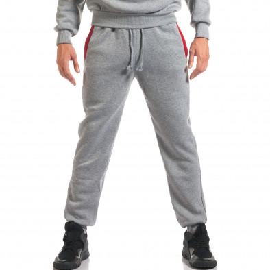 Мъжки сив спортен комплект с 2 ленти отпред it160916-85 5