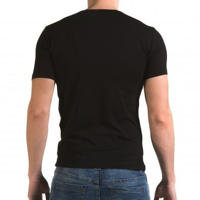 Мъжка черна тениска с принт птица Lagos 4