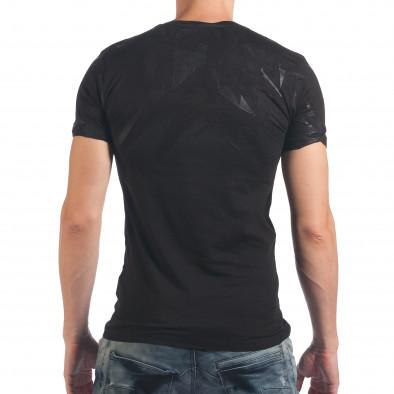 Мъжка черна тениска с ефектен принт SAW 4