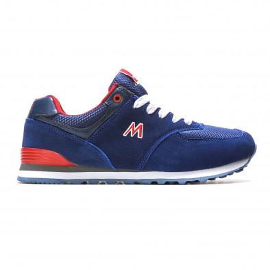 Мъжки сини маратонки с червени детайли it110316-102 2