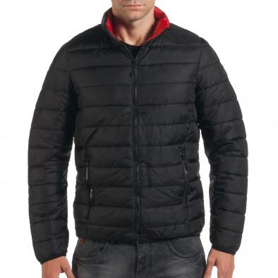 Мъжко черно пролетно-есенно яке с червена подплата it190616-15 2