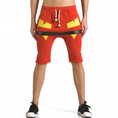 Мъжки червени шорти с жълти детайли it110316-74 2