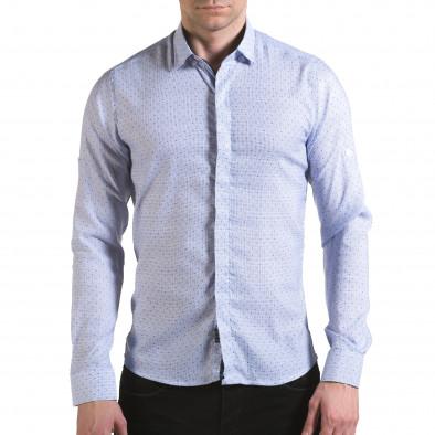 Мъжка светло синя риза с малки детайли и скрити копчета il170216-112 2