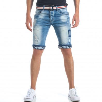 Мъжки къси дънки с текстилен колан it190417-64 2