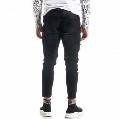 Мъжки черни дънки Destroyed Paint tr020920-8 4