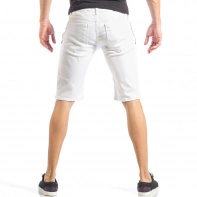 Бели мъжки къси дънки с черен цип и пръски it040518-80 3