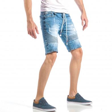Мъжки сини къси дънки в рокерски стил it040518-72 4