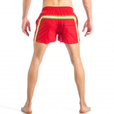 Мъжки червен бански с трицветна лента it040518-95 4