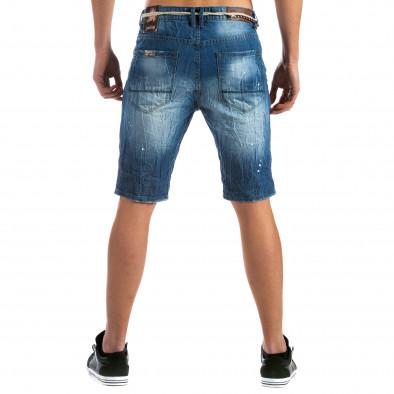 Мъжки къси дънки с пръски боя и конопен колан it110315-57 3