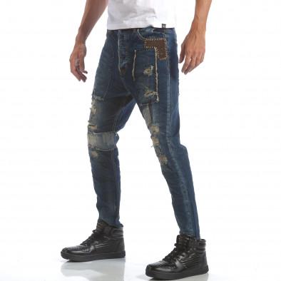 Мъжки дънки с големи декоративни кръпки it160817-60 4