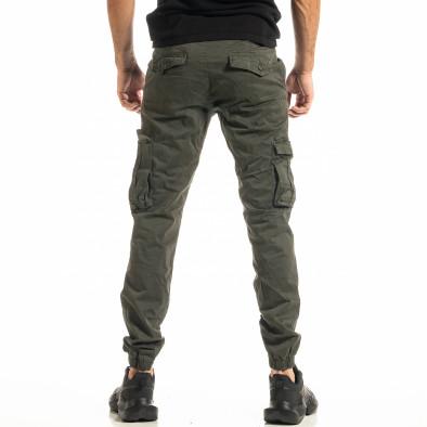 Мъжки зелен карго панталон с ластик на крачолите tr300920-4 3