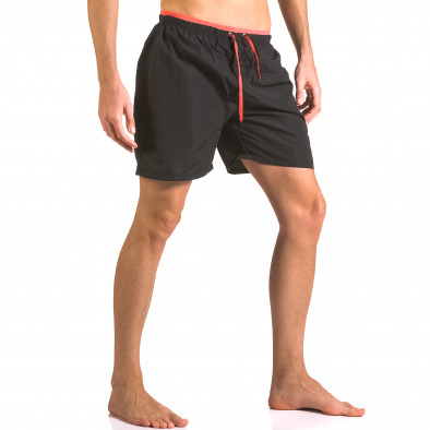 Мъжки черни бански шорти с връзки и бандаж ca050416-23 4