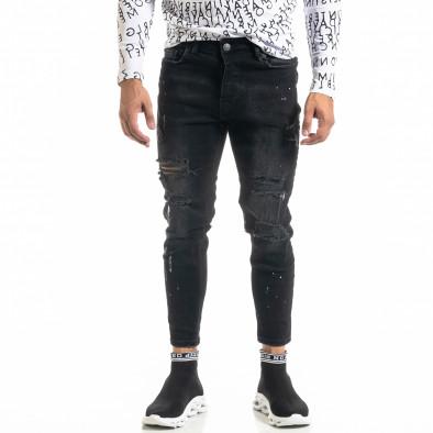 Мъжки черни дънки Destroyed Paint tr020920-8 2