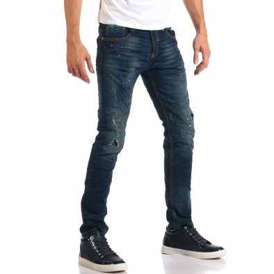 Мъжки дънки с черни и бели пръски боя it160916-17 4