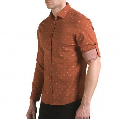 Мъжка кафява риза с котвички и китове il170216-96 4