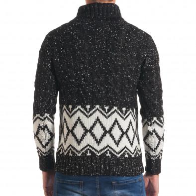 Мъжки черен зимен пуловер с бели фигури it170816-55 3