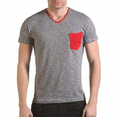 Мъжка сива тениска с червен джоб il170216-17 2