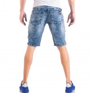 Мъжки сини къси дънки с кантове на звезди и скъсвания it050618-22 5