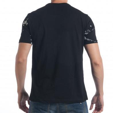 Мъжка черна тениска с бял принт tsf090617-50 3