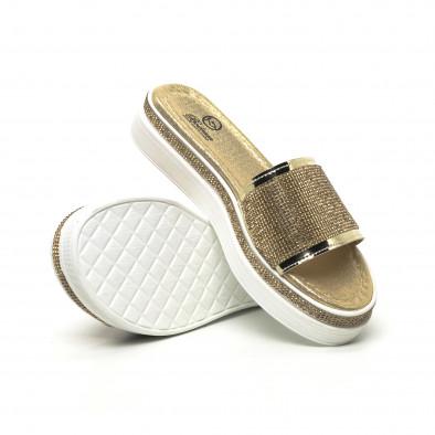 Дамски златисти чехли с камъчета tr180320-2 4